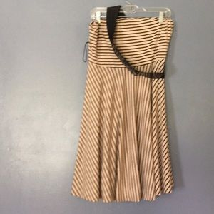 Striped tube dress with belt